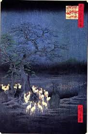 Fox fires on New Year's Eve..., Andō Hiroshige, 1857